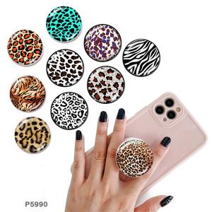 Leopard Tiermuster Der Handyhalter Lackierte Telefonsteckdosen mit schwarzem oder weißem Druckmustergrund