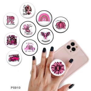 ピンクフェイスリボン携帯電話ホルダー黒または白のプリントパターンベースの塗装済み電話ソケット