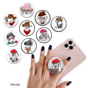 Hund Der Handyhalter Lackierte Telefonsteckdosen mit schwarzer oder weißer Druckmusterbasis
