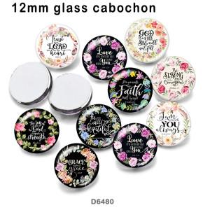10pcs / lot Blumenwörter Glasbilddruckprodukte in verschiedenen Größen Kühlschrankmagnet Cabochon