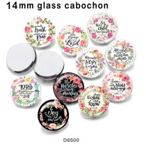 10pcs/lot  Flower  words  glass picture printing products of various sizes  Fridge magnet cabochon