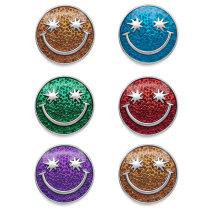 Botones a presión de esmalte de varios colores Smiley de 20 mm
