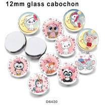 10 pcs/lot produits d'impression d'image en verre licorne de différentes tailles cabochon d'aimant de réfrigérateur