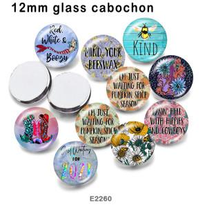 10個/ロット種類各種サイズの花ガラス絵印刷製品冷蔵庫マグネットカボション