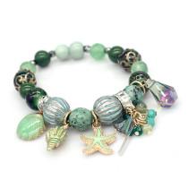 Naturstein Muschel Strand Damen Armband Perlenarmband