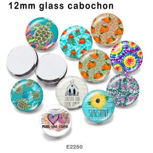 10pcs / lot Love Peace Glasbilddruckprodukte in verschiedenen Größen Kühlschrankmagnet Cabochon