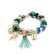 Naturstein Muschel Seestern Strand Damen Armband Perlenarmband