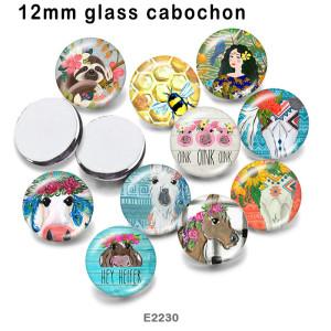 10個/ロットさまざまなサイズの馬用ガラス画像印刷製品冷蔵庫用マグネットカボション