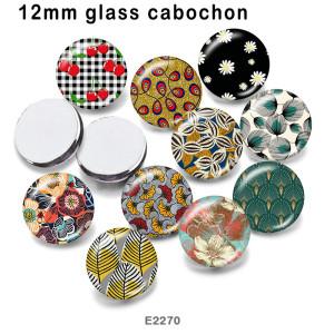 10個/ロット各種サイズの花ガラス絵印刷製品冷蔵庫マグネットカボション