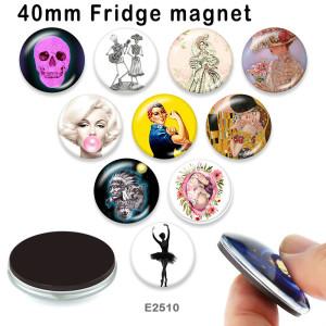 さまざまなサイズの10個/ロットダンスガラス画像印刷製品冷蔵庫用マグネットカボション