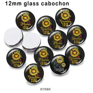 10個/ロットフラワーママナナミミ各種サイズのガラス絵印刷製品冷蔵庫マグネットカボション