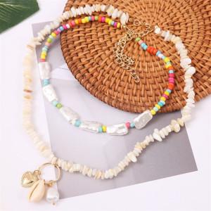 Long collier de coquillages en gravier perlé Europe et Amérique bijoux pendentif en perles de riz tissées