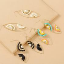 Серьги из рисовых бусин ручной работы с геометрическими глазами, модные цветные бусины, персонализированные серьги, украшения