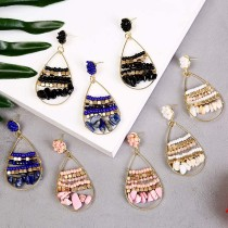Богемные геометрические серьги из рисовых бусин с натуральным камнем, женские креативные серьги ручной работы, ювелирные изделия