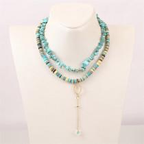 Bohemian handmade soft ceramic gravel multi-layer necklace Europe and America long rice bead flower pendant
