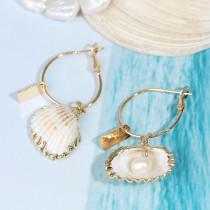 Серьги-ракушки из натурального жемчуга неправильной формы, женские серьги из сплава, индивидуальные геометрические серьги, ювелирные изделия