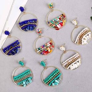 Boucles d'oreilles rondes en perles de riz faites à la main en pierre naturelle simples boucles d'oreilles en résine tissée bijoux