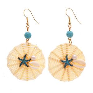 À la mode géométrique ronde coquille étoile de mer perle à la main rotin boucles d'oreilles femme rétro boucles d'oreilles bijoux