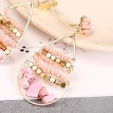 Bohemian natural stone geometric rice bead earrings ladies creative hand-woven earrings jewelry