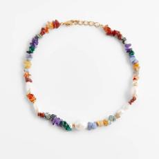 Collier de gravier tissé à la main bijoux pendentif créatif couleur perle femme