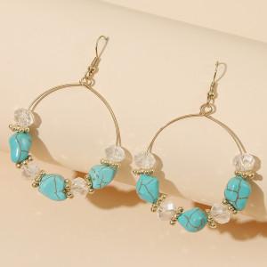 Boucles d'oreilles en pierre acrylique perlées rondes géométriques femmes boucles d'oreilles de style plage faites à la main rétro bijoux