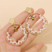 Boucles d'oreilles abeilles tissées perles femmes boucles d'oreilles insectes ronds bijoux