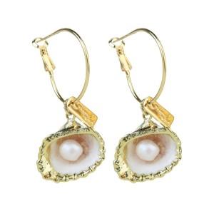 Boucles d'oreilles en coquille de perles naturelles irrégulières personnalité en alliage féminin boucles d'oreilles géométriques bijoux