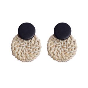Boucles d'oreilles en rotin en bois Boucles d'oreilles bohème rondes géométriques féminines