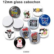 10pcs / lot MOM Cat Dog Glasbilddruckprodukte in verschiedenen Größen Kühlschrankmagnet Cabochon