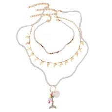 Collier multicouche de perles de riz de dauphin tissé à la mode collier femme pendentif sirène coquillage bohème bijoux