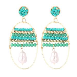 Boucles d'oreilles bohèmes géométriques en perles de riz tissées à la main Boucles d'oreilles ovales tendance