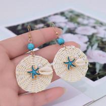 Модные геометрические круглые ракушки, морские звезды, жемчужные серьги из ротанга, женские ретро серьги, ювелирные изделия