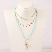 Bohemian multi-layer woven shell rice bead necklace European and American trend personality pearl pendant jewelry