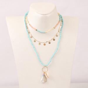 Collier de perles de riz en coquillage tissé multicouche bohème tendance européenne et américaine personnalité tendance bijoux pendentif perle