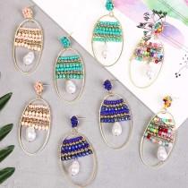 Богемные геометрические серьги из рисовых бусин ручной работы модные овальные серьги