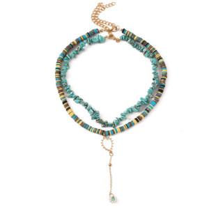 Collier multicouche de gravier en céramique souple fait à la main bohème Europe et Amérique pendentif de fleur de perle de riz longue