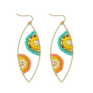 Boucles d'oreilles perles de riz tissées à la main yeux géométriques perles de couleur tendance boucles d'oreilles personnalisées bijoux