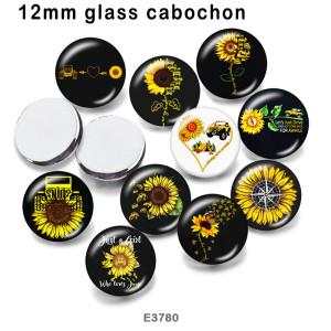 10pcs / lot Sonnenblumenliebesglasbilddruckprodukte in verschiedenen Größen Kühlschrankmagnet Cabochon