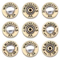 Botones de carcasa de metal de bala de 20 mm con botones a presión de respaldo de aleación WINCHESTER 12 20 28 GA