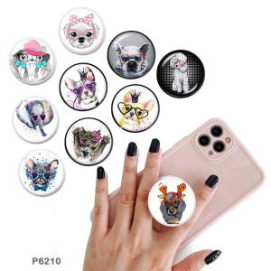 Tier Der Handyhalter Lackierte Telefonsteckdosen mit schwarzer oder weißer Druckmusterbasis