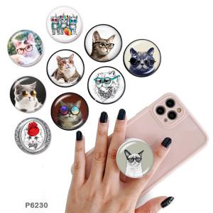 Cat Der Handyhalter Lackierte Telefonsteckdosen mit schwarzem oder weißem Druckmusterboden
