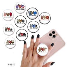 LoveTeamスポーツロゴ携帯電話ホルダー黒または白のプリントパターンベースの塗装済み電話ソケット