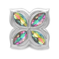 Diseño cuadrado de 20 mm de varios colores con botones a presión de diamantes de imitación