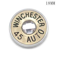 Botones de carcasa de metal de bala de 18 mm con botones a presión de respaldo de aleación WINCHESTER 45 AUTO 38 SPL