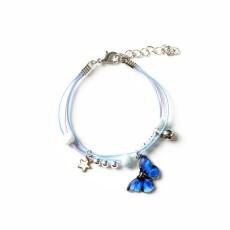 Bracelet papillon bleu bracelet tressé femme