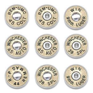 18MM Kugelknöpfe aus Metall mit Druckknöpfen aus Aluminium WINCHESTER 45 AUTO 38 SPL