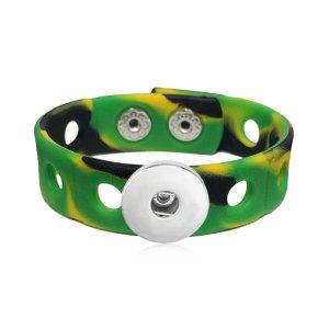 Bracelet style enfant 18cm junior avec largeur 15mm colorée en silicone stretch, bouton-pression 20mm