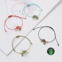 Bracelet tissé réglable en perles de verre lumineuses