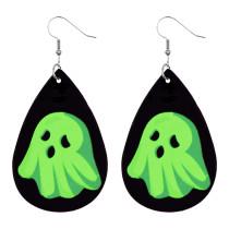 Boucles d'oreilles Halloween en cuir tête de mort citrouille lumineuse