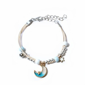 貝殻、星、月、蝶の編みこみブレスレット